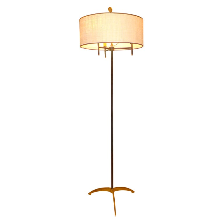 195039s french floor lamp with brass tripod feed at 1stdibs for 1950 s brass floor lamp