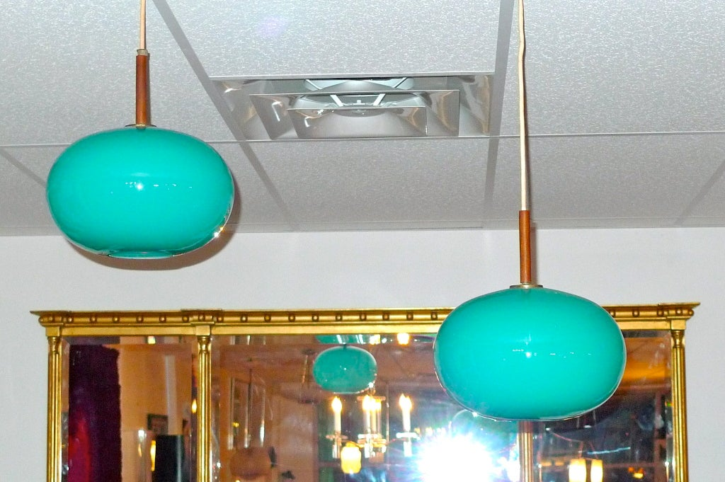 Pair of Turquoise Glass Pendants by Prescolite 10