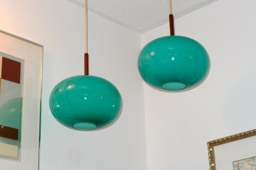 American Pair of Turquoise Glass Pendants by Prescolite