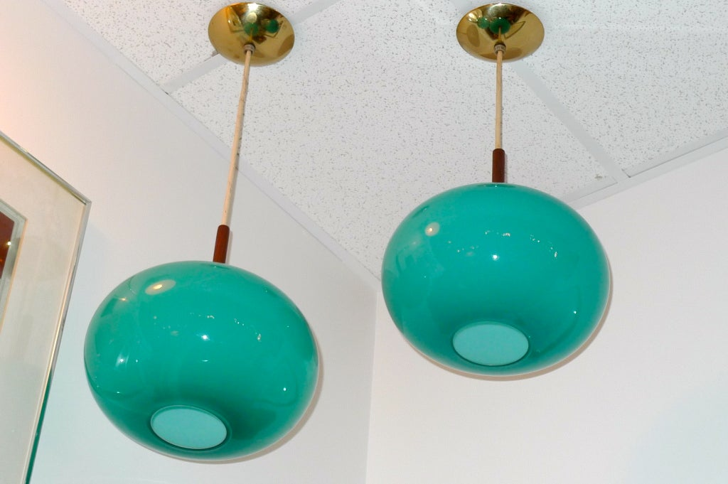 Mid-20th Century Pair of Turquoise Glass Pendants by Prescolite