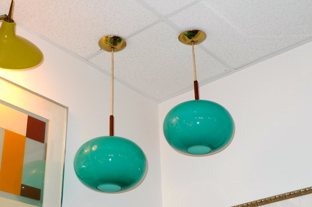 Pair of Turquoise Glass Pendants by Prescolite 1