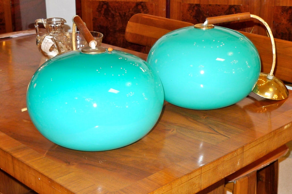 Pair of Turquoise Glass Pendants by Prescolite 5