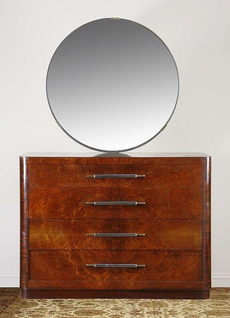 Early To Mid 20th Century American Art Deco Burled Mahogany Veneered Dresser With Rounded Corners