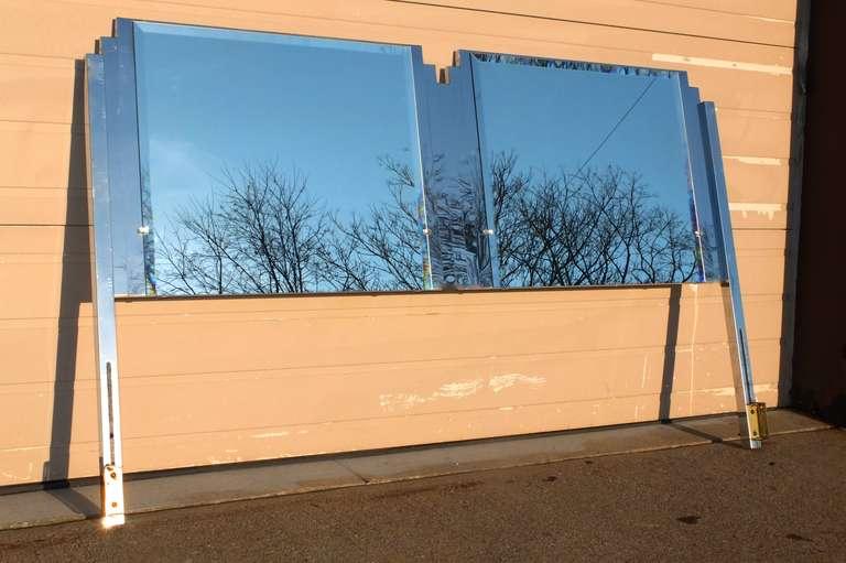 Mid-Century Modern Ello King Sized Mirror & Chrome Steel Headboard For Sale