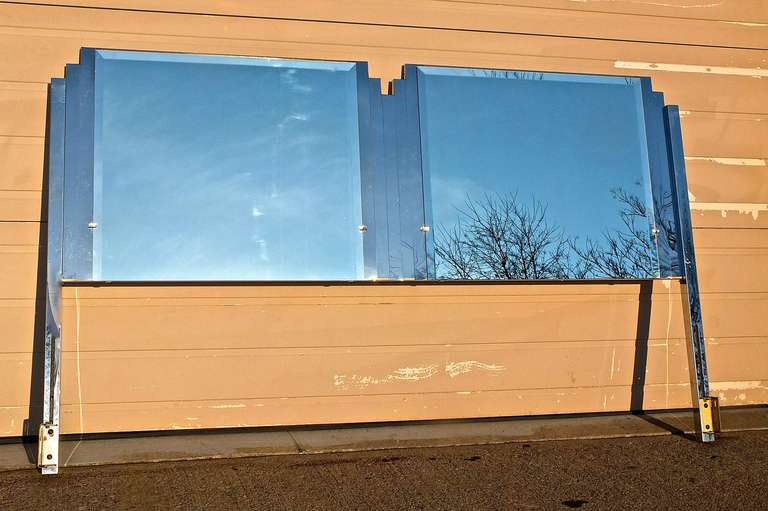 Italian Ello King Sized Mirror & Chrome Steel Headboard For Sale