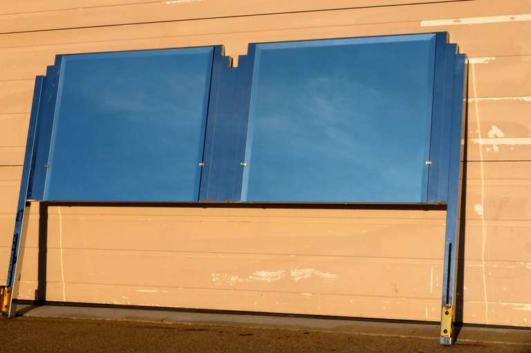 Ello King Sized Mirror & Chrome Steel Headboard In Good Condition For Sale In Hingham, MA