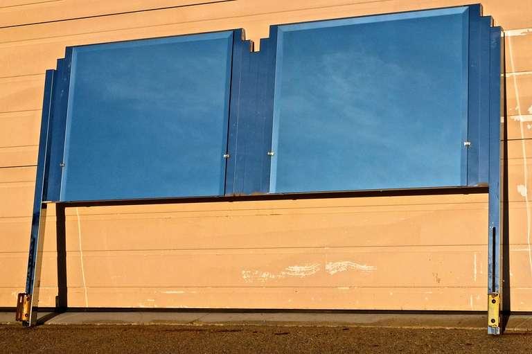 20th Century Ello King Sized Mirror & Chrome Steel Headboard For Sale