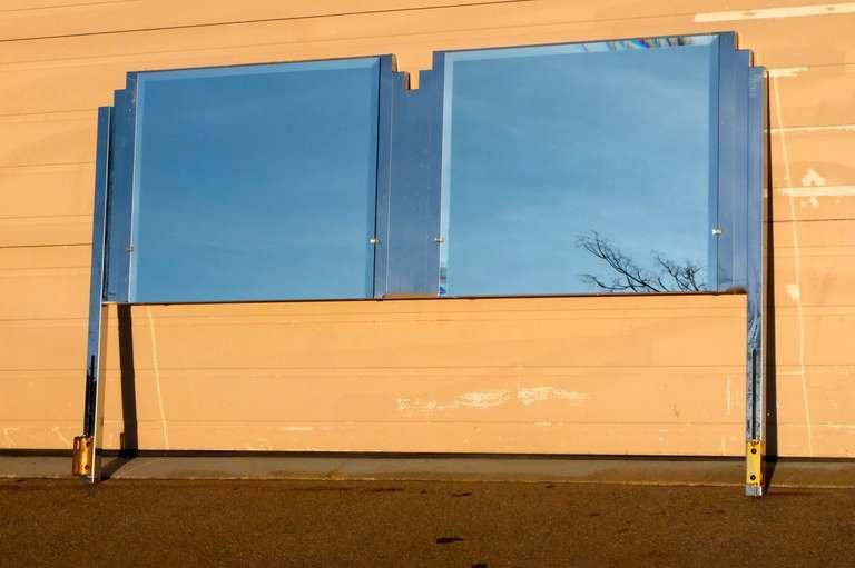 Ello King Sized Mirror & Chrome Steel Headboard For Sale 3