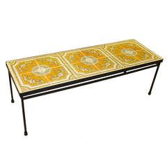 Ceramic Tile Topped Iron Frame Cocktail Table