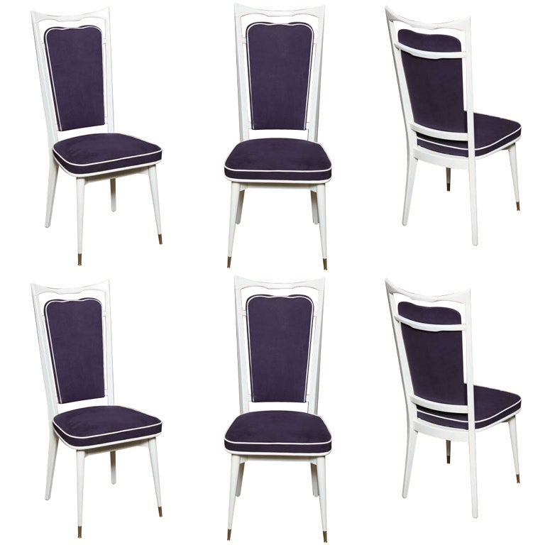 Set of 6 French Art Deco Dining Chairs For Sale