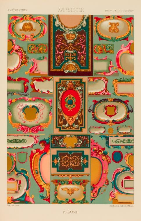 """Three Framed Plates from """"L'ornement Polychrome"""" Edited by Racinet For Sale 3"""