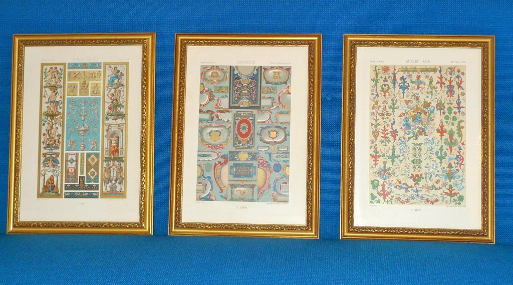 Three mounted and giltwood framed chromolithograph plates from L'Ornement Polychrome: Motifs de tous les styles, art ancien et asiatique, Moyen Age, Renaissance, XVIIe et XVIIIe siècles, by A. Racinet, 1869-1873. Published by Firmin-Didot,