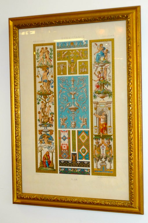 """Victorian Three Framed Plates from """"L'ornement Polychrome"""" Edited by Racinet For Sale"""