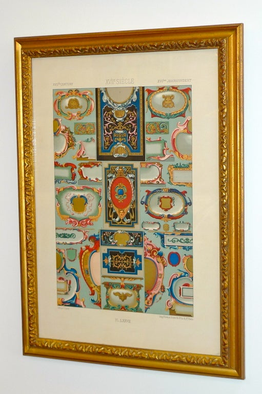 """French Three Framed Plates from """"L'ornement Polychrome"""" Edited by Racinet For Sale"""