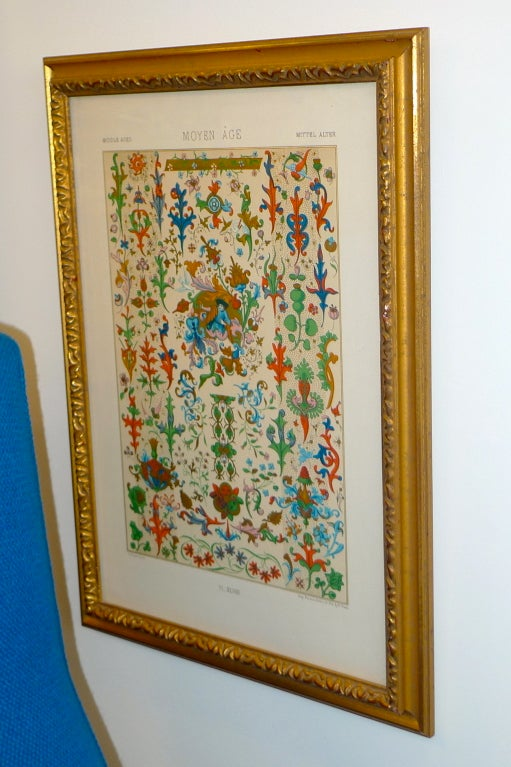 """Glazed Three Framed Plates from """"L'ornement Polychrome"""" Edited by Racinet For Sale"""