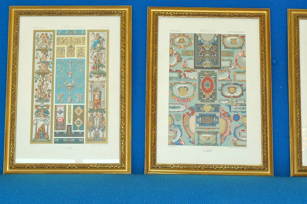 """Three Framed Plates from """"L'ornement Polychrome"""" Edited by Racinet In Excellent Condition For Sale In Hingham, MA"""