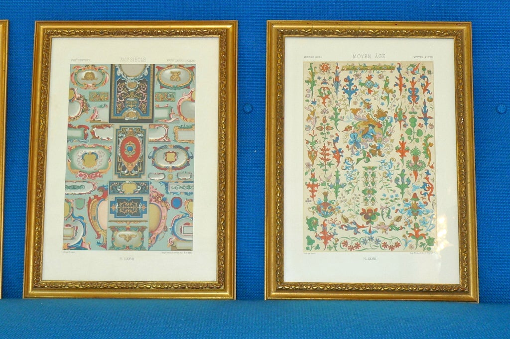 """19th Century Three Framed Plates from """"L'ornement Polychrome"""" Edited by Racinet For Sale"""