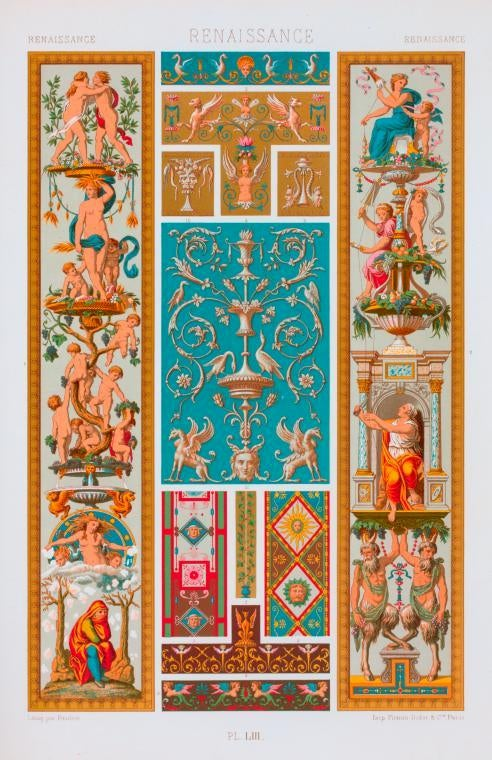 """Three Framed Plates from """"L'ornement Polychrome"""" Edited by Racinet For Sale 2"""