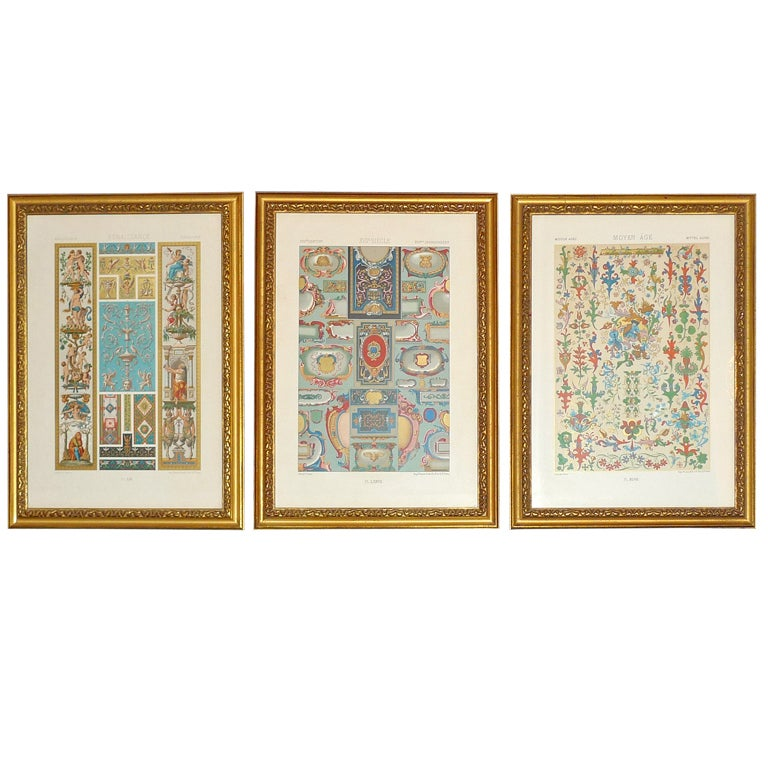 """Three Framed Plates from """"L'ornement Polychrome"""" Edited by Racinet For Sale"""
