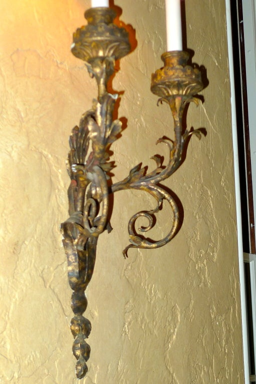 19th Century Set of Eight Italian Gilt Metal Double Branch Sconces For Sale