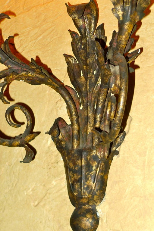 Set of Eight Italian Gilt Metal Double Branch Sconces For Sale 1