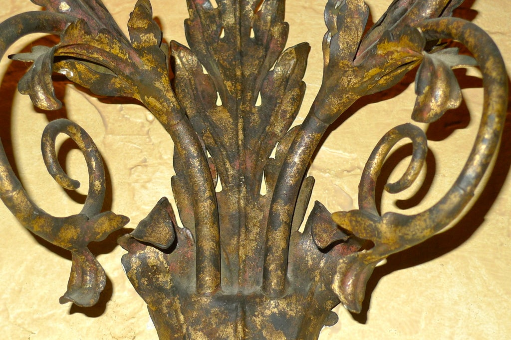 Set of Eight Italian Gilt Metal Double Branch Sconces For Sale 2