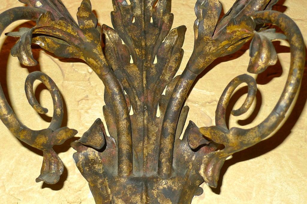Set of Eight Italian Gilt Metal Double Branch Sconces 5