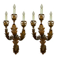 Palazzo Scale Italian Tole Sconces With Acanthus Leaves