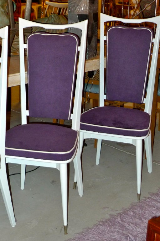 Mid-20th Century Set of 6 French Art Deco Dining Chairs For Sale