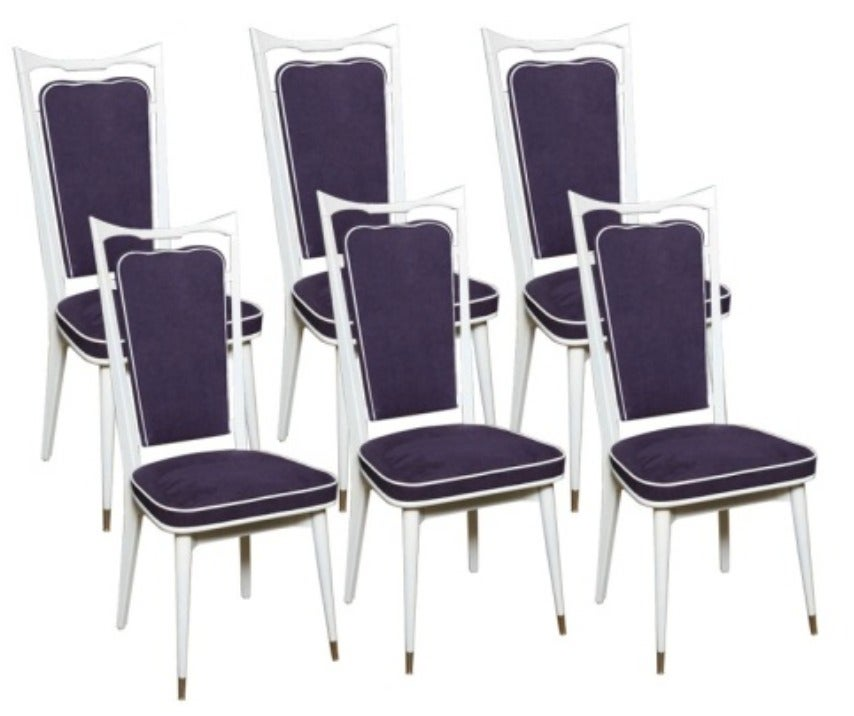 Set of 6 French Art Deco Dining Chairs For Sale 7