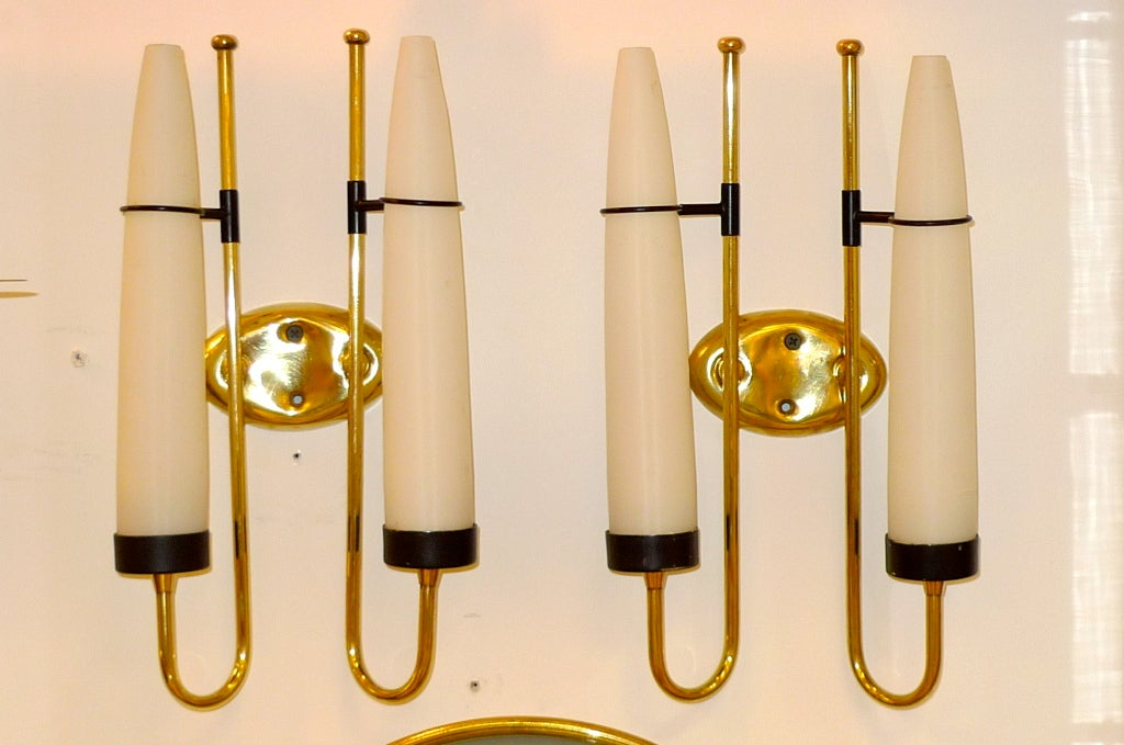 Italian Candle Wall Sconces : Pair of Italian Brass and Opaline Glass Candle Sconces For Sale at 1stdibs