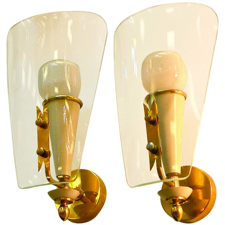 Pair of Petite Italian Bent Glass Sconces