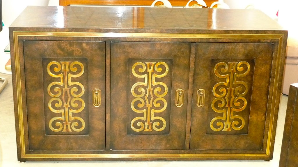 Mastercraft Credenza in Brass Decorated Carpathian Elm For Sale 1