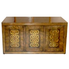 Mastercraft Credenza in Brass Decorated Carpathian Elm