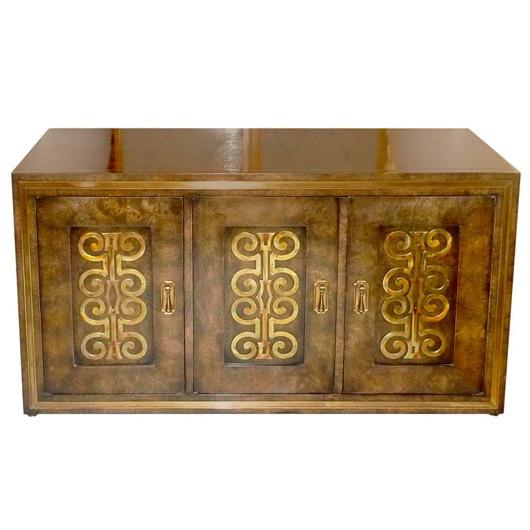 Mastercraft Credenza in Brass Decorated Carpathian Elm For Sale