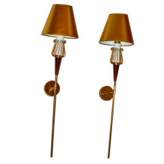 Pair of French 1950's Torch Style Brass Sconces
