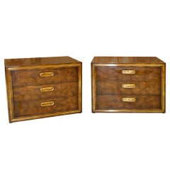 Pair of Mastercraft 3 Drawer Chests in Brass and Carpathian Elm
