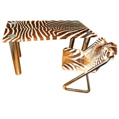Karl Springer Style Chrome & Zebra Hide Desk with Chair