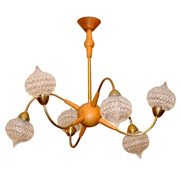French 1950's Atomic Wood & Brass Chandelier