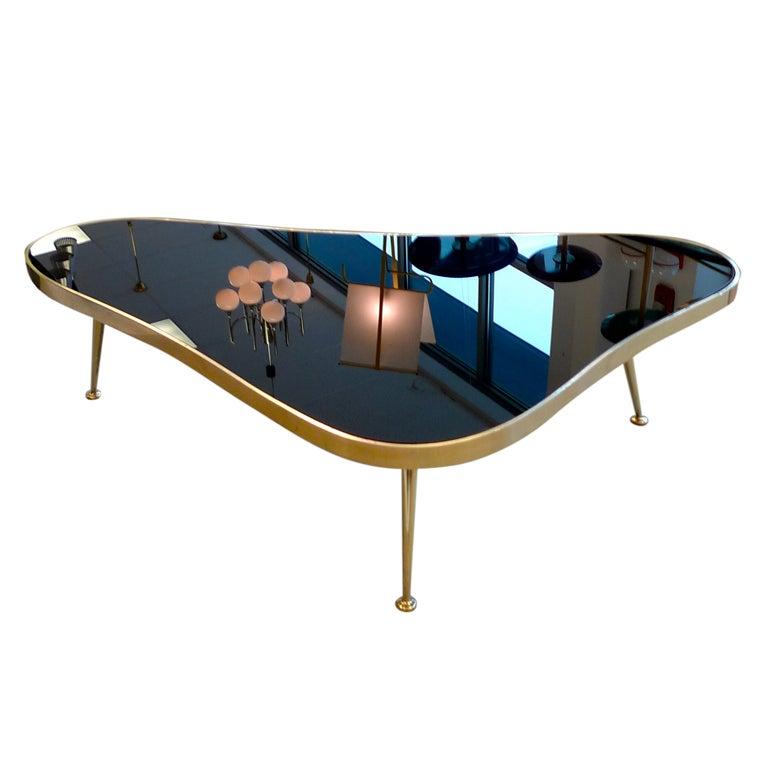 1950's Italian Amoeba Form Brass And Black Mirror Cocktail