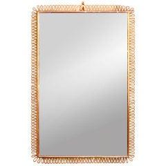 Italian Looped Brass Framed Beveled Mirror