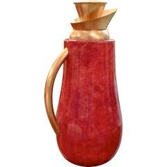 Aldo Tura Tomato Red Lacquered Goatskin Carafe