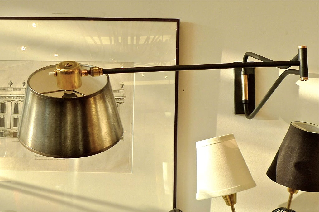 Wall Sconce No Shade : *HOLD* Pair of Lunel Swing Arm Wall Sconces with Gunmetal Shades at 1stdibs