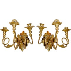 Pair of Venetian Baroque Giltwood Sconces