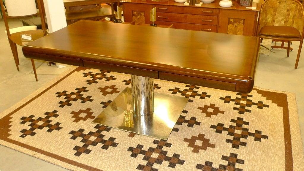 Mid-Century Modern Warren Platner Style Executive Pedestal Desk by Gianni