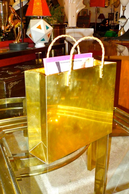 Vintage Italian Brass Shopping Bag Magazine Holders image 5