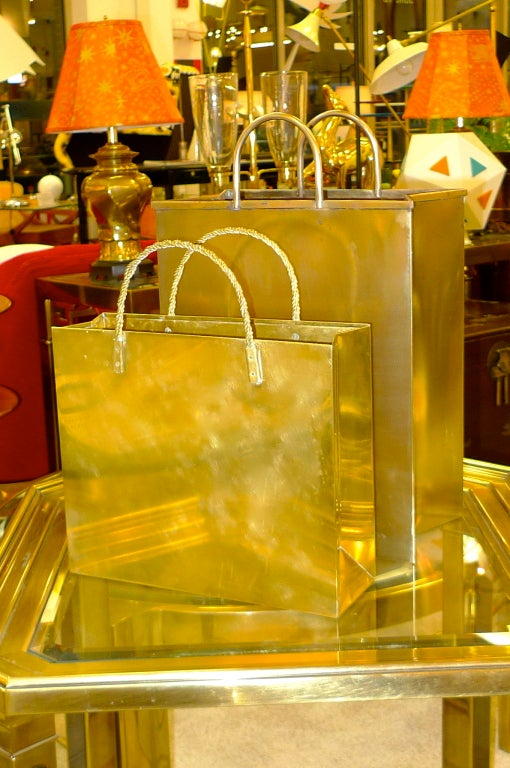 Vintage Italian Brass Shopping Bag Magazine Holders image 2