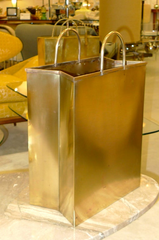 Vintage Italian Brass Shopping Bag Magazine Holders image 3