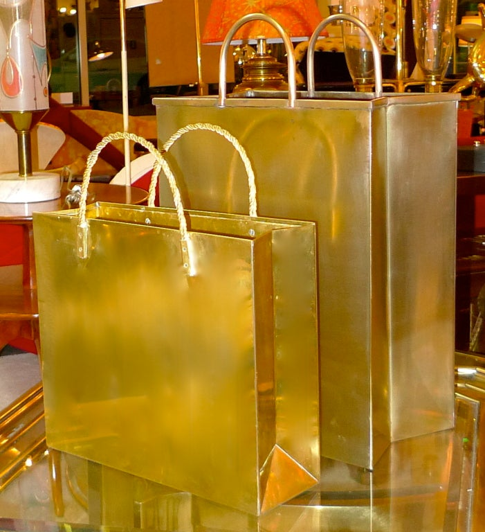 Vintage Italian Brass Shopping Bag Magazine Holders In Excellent Condition For Sale In Hingham, MA