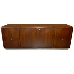 Solid Walnut Credenza with Chrome Plinth Base